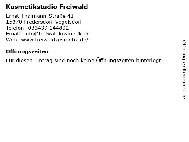 Kosmetikstudio Freiwald in Woltersdorf: Adresse und Öffnungszeiten