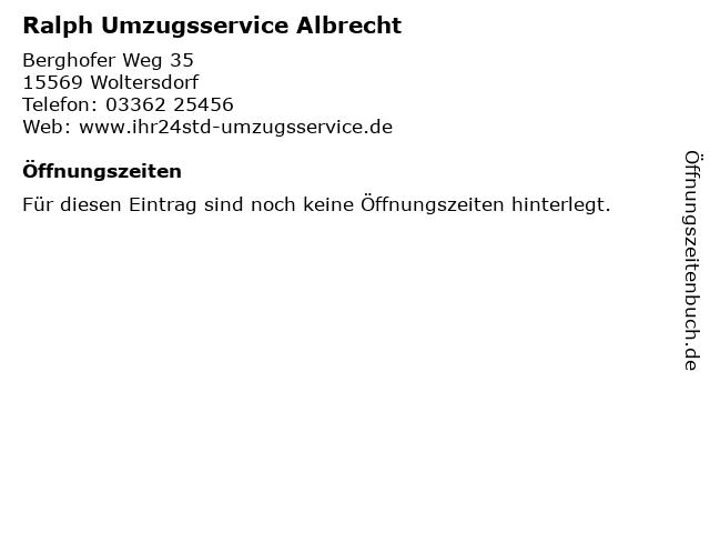 Ralph Umzugsservice Albrecht in Woltersdorf: Adresse und Öffnungszeiten