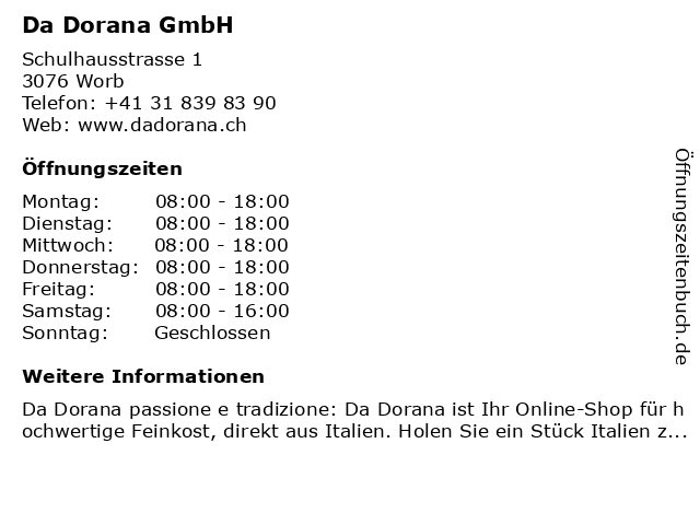 Da Dorana GmbH in Worb: Adresse und Öffnungszeiten