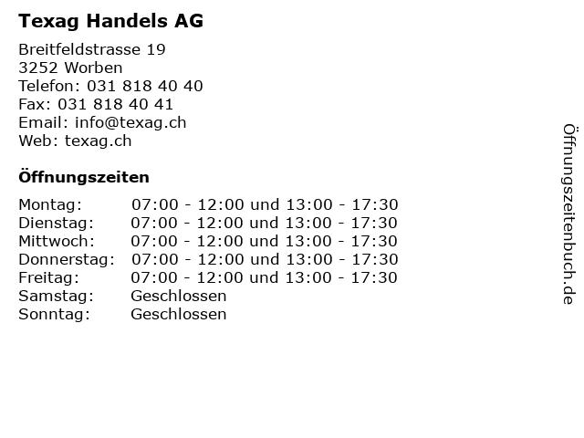 Texag Handels AG in Worben: Adresse und Öffnungszeiten