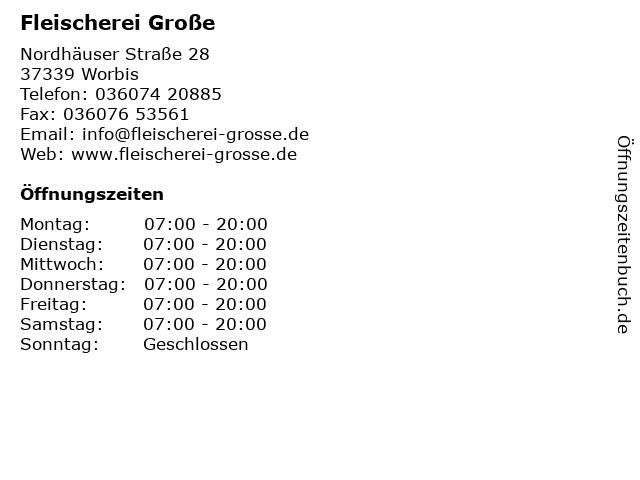 Fleischerei Große in Worbis: Adresse und Öffnungszeiten