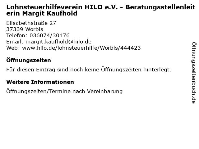 Lohnsteuerhilfeverein HILO e.V. - Beratungsstellenleiterin Margit Kaufhold in Worbis: Adresse und Öffnungszeiten