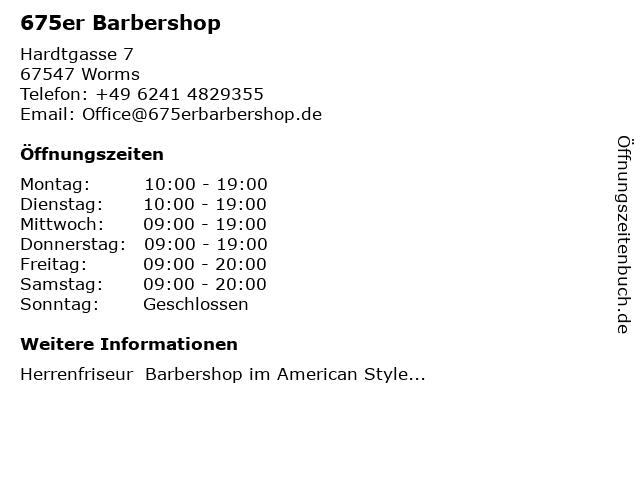 675er Barbershop in Worms: Adresse und Öffnungszeiten