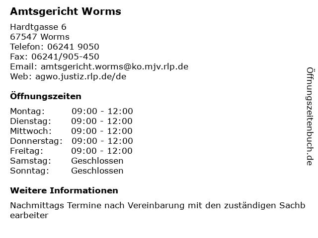 Amtsgericht Worms in Worms: Adresse und Öffnungszeiten