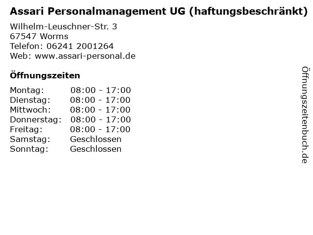 Assari Personalmanagement UG (haftungsbeschränkt) in Worms: Adresse und Öffnungszeiten