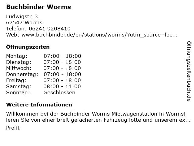 Buchbinder Worms in Worms: Adresse und Öffnungszeiten