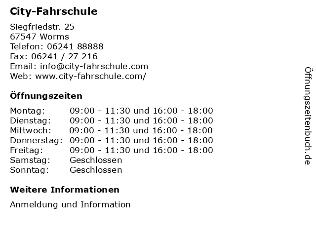 City-Fahrschule in Worms: Adresse und Öffnungszeiten