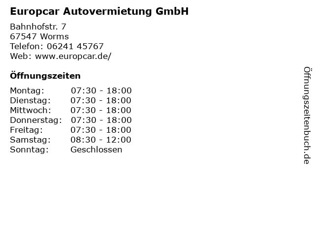 Europcar Autovermietung GmbH in Worms: Adresse und Öffnungszeiten