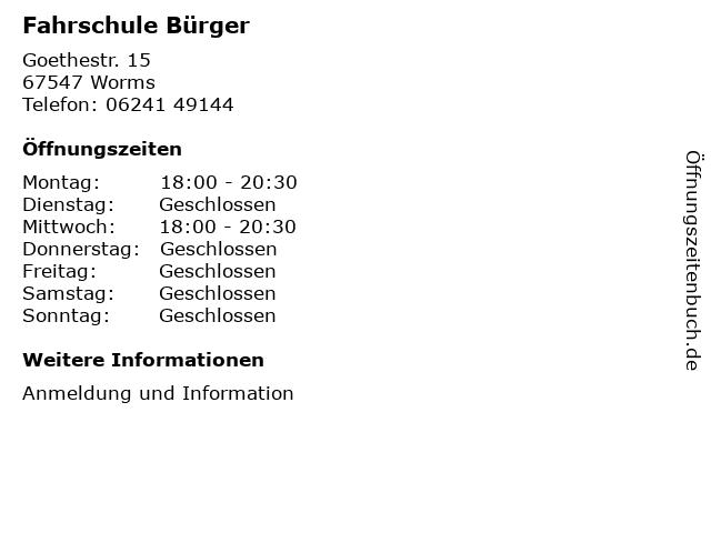Fahrschule Bürger in Worms: Adresse und Öffnungszeiten