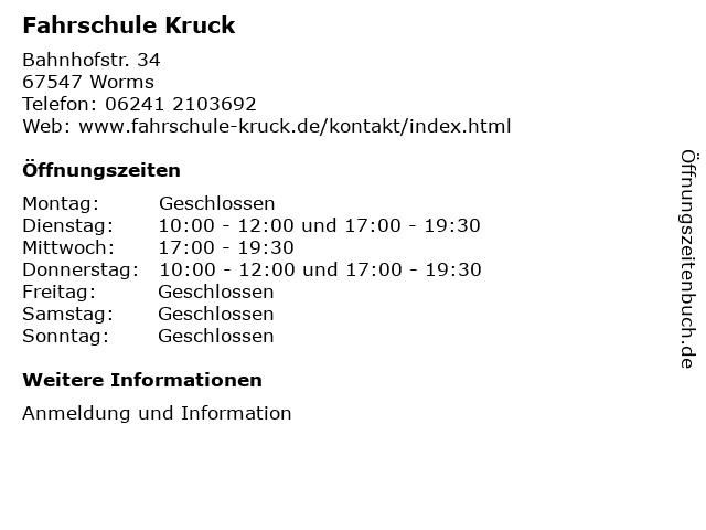 Fahrschule Kruck in Worms: Adresse und Öffnungszeiten