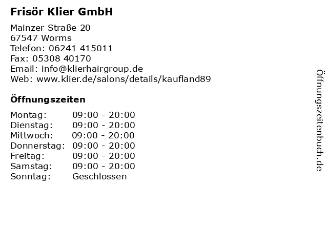 Frisör Klier GmbH in Worms: Adresse und Öffnungszeiten