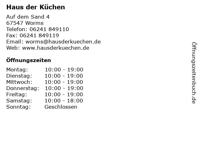 ᐅ Öffnungszeiten Haus der Küchen | Auf dem Sand 4 in Worms