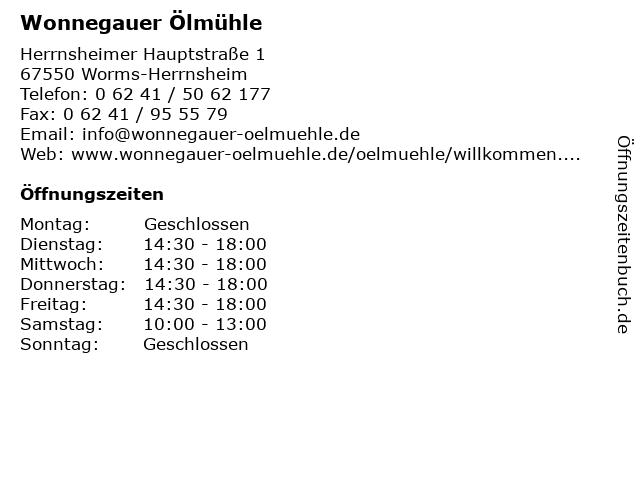 Wonnegauer Ölmühle in Worms-Herrnsheim: Adresse und Öffnungszeiten