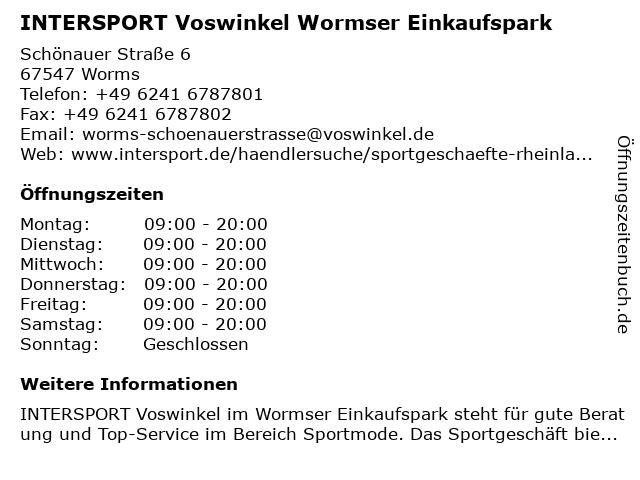 INTERSPORT Voswinkel Wormser Einkaufspark in Worms: Adresse und Öffnungszeiten