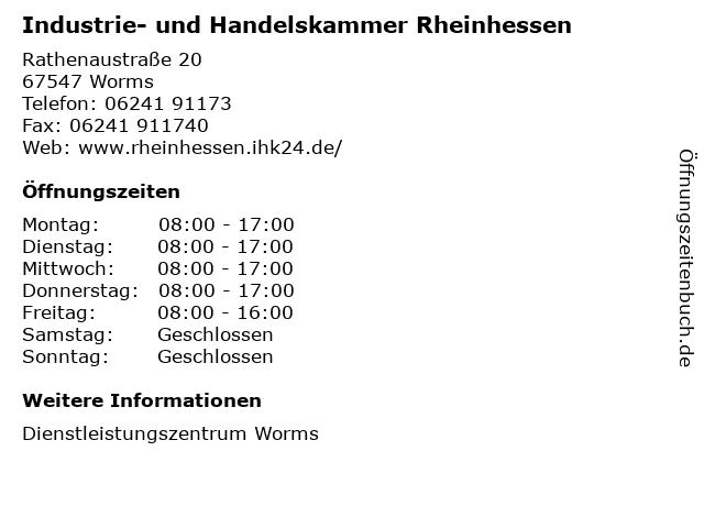 Industrie- und Handelskammer Rheinhessen in Worms: Adresse und Öffnungszeiten