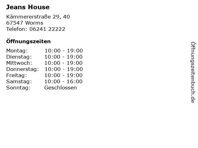 Jeans House in Worms: Adresse und Öffnungszeiten