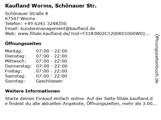 Kaufland Worms, Schönauer Str. in Worms: Adresse und Öffnungszeiten