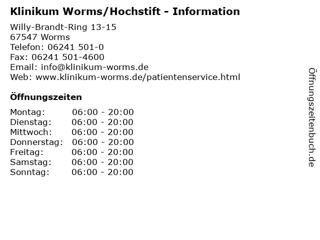 Klinikum Worms/Hochstift - Information in Worms: Adresse und Öffnungszeiten
