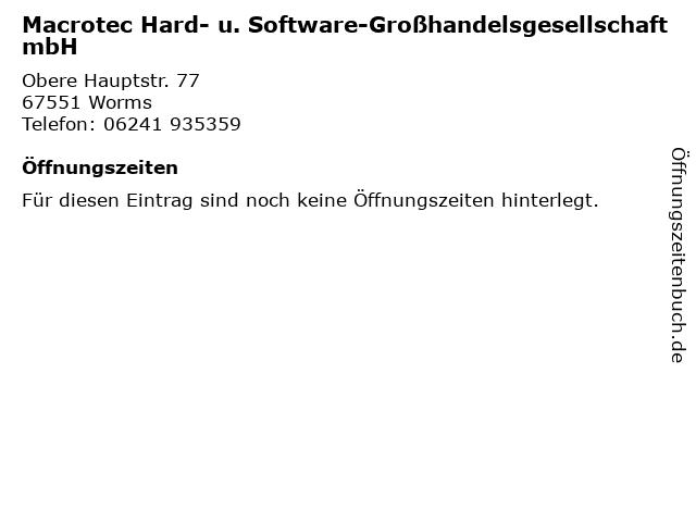 Macrotec Hard- u. Software-Großhandelsgesellschaft mbH in Worms: Adresse und Öffnungszeiten