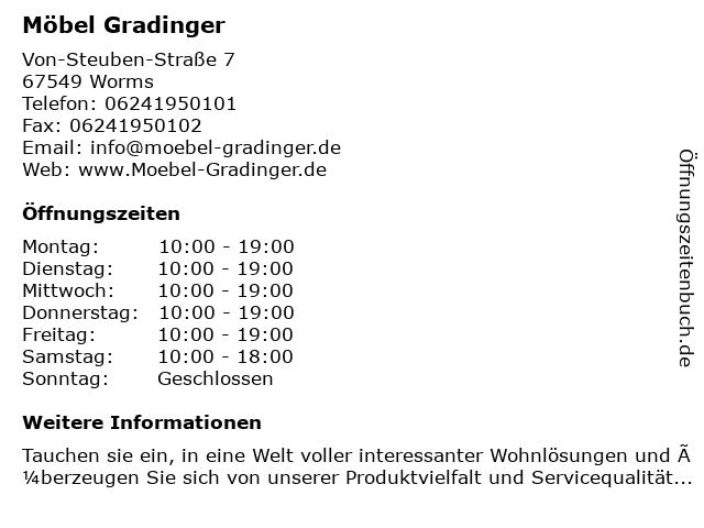 ᐅ öffnungszeiten Möbel Gradinger Ohg Von Steuben Straße 7 In Worms