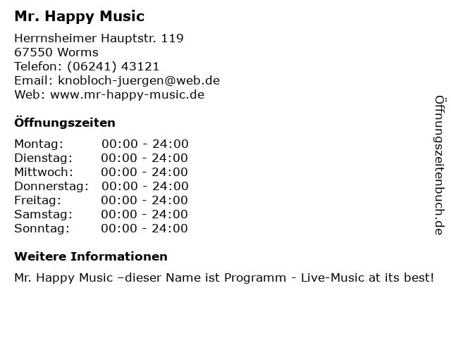 Mr. Happy Music in Worms: Adresse und Öffnungszeiten