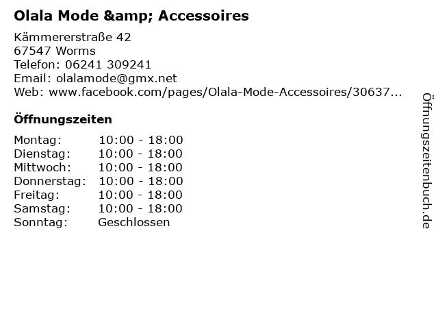 Olala Mode & Accessoires in Worms: Adresse und Öffnungszeiten