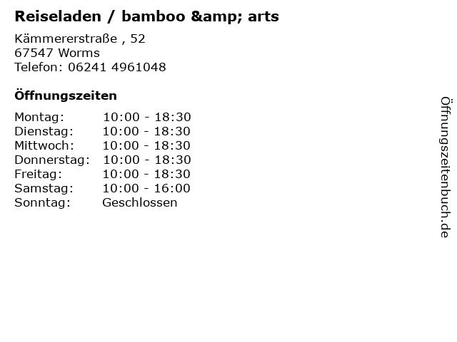 Reiseladen / bamboo & arts in Worms: Adresse und Öffnungszeiten