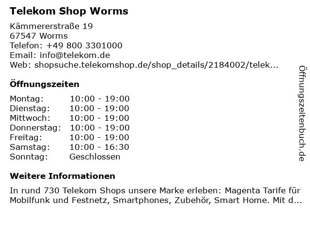 Telekom Shop Worms in Worms: Adresse und Öffnungszeiten
