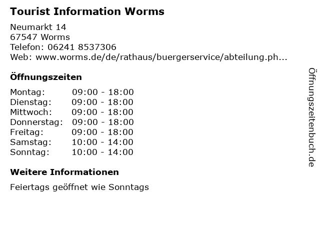 Tourist Information Worms in Worms: Adresse und Öffnungszeiten