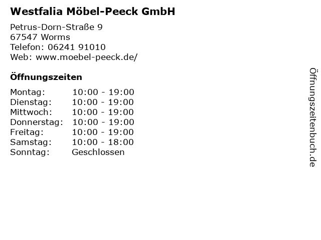 ᐅ öffnungszeiten Westfalia Möbel Peeck Gmbh Petrus Dorn Straße