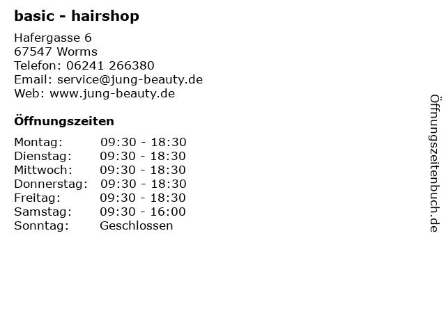 basic - hairshop in Worms: Adresse und Öffnungszeiten