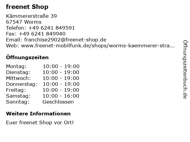 mobilcom-debitel in Worms: Adresse und Öffnungszeiten