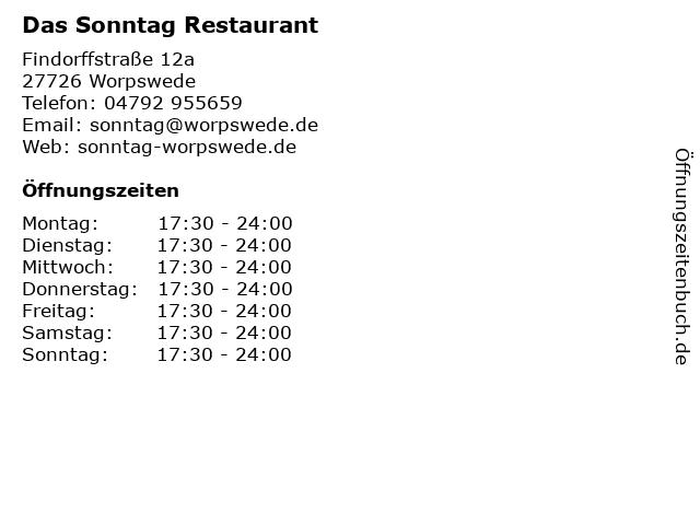 Das Sonntag Restaurant in Worpswede: Adresse und Öffnungszeiten