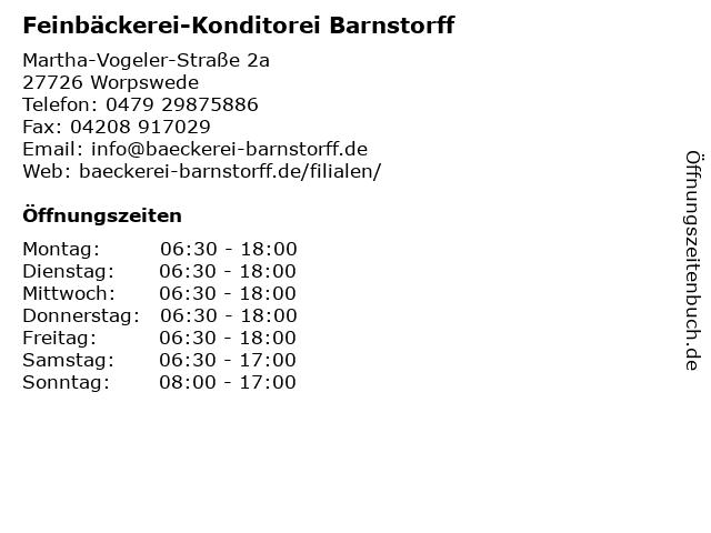 Feinbäckerei-Konditorei Barnstorff in Worpswede: Adresse und Öffnungszeiten