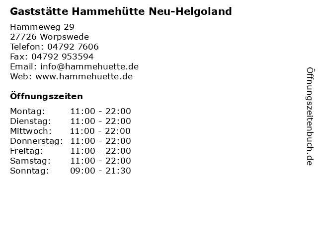 Gaststätte Hammehütte Neu-Helgoland in Worpswede: Adresse und Öffnungszeiten