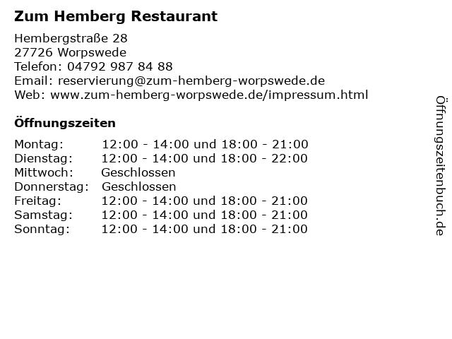 Restaurant Zum Hemberg in Worpswede: Adresse und Öffnungszeiten