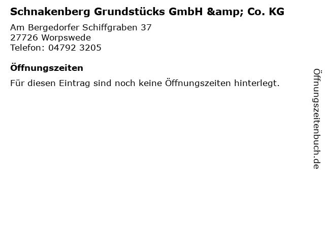 Schnakenberg Grundstücks GmbH & Co. KG in Worpswede: Adresse und Öffnungszeiten