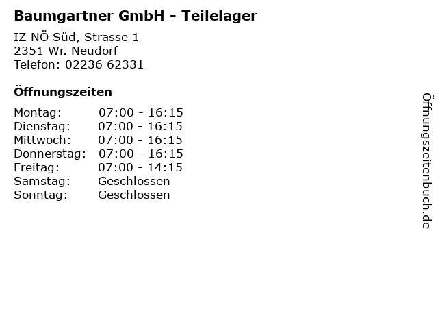 Baumgartner GmbH - Teilelager in Wr. Neudorf: Adresse und Öffnungszeiten
