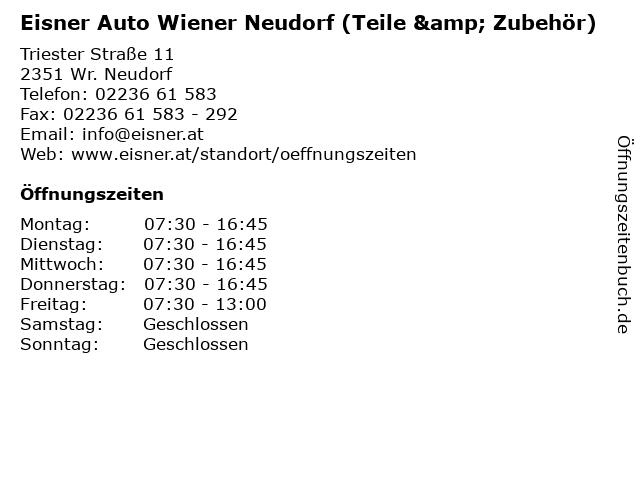 Eisner Auto Wiener Neudorf (Teile & Zubehör) in Wr. Neudorf: Adresse und Öffnungszeiten