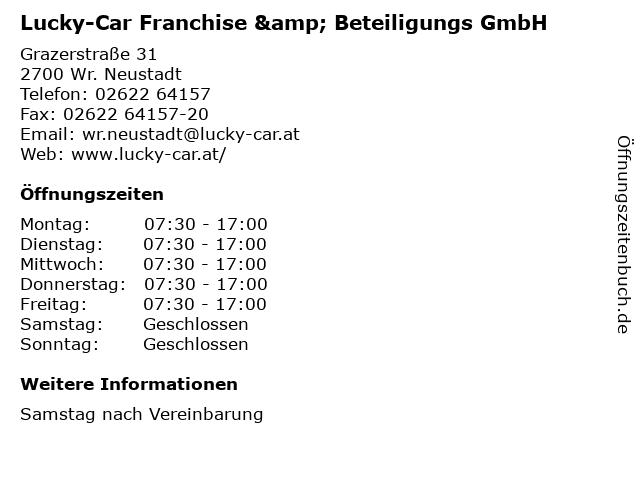 Lucky-Car Franchise & Beteiligungs GmbH in Wr. Neustadt: Adresse und Öffnungszeiten