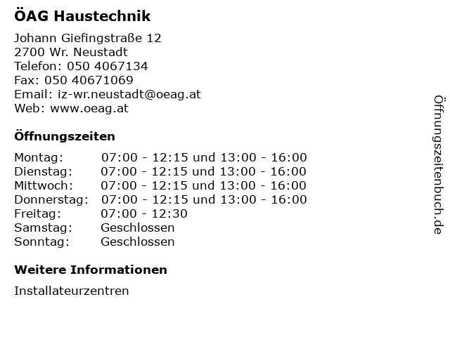 ÖAG Haustechnik in Wr. Neustadt: Adresse und Öffnungszeiten