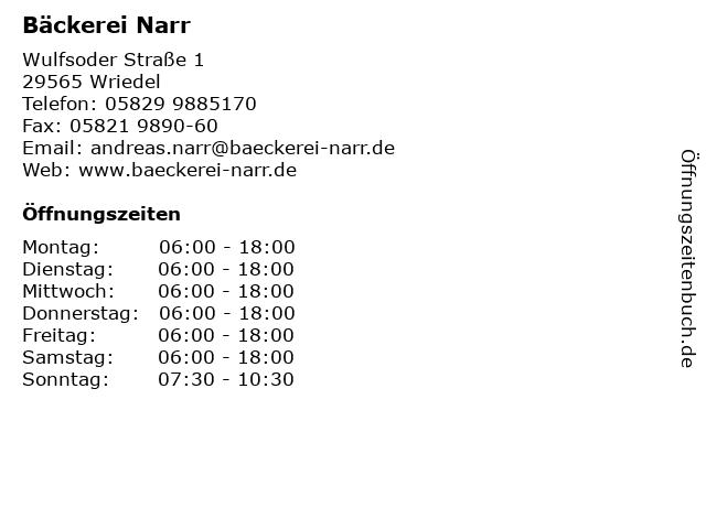 Bäckerei Narr in Wriedel: Adresse und Öffnungszeiten