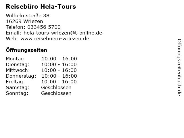 Reisebüro Hela-Tours in Wriezen: Adresse und Öffnungszeiten