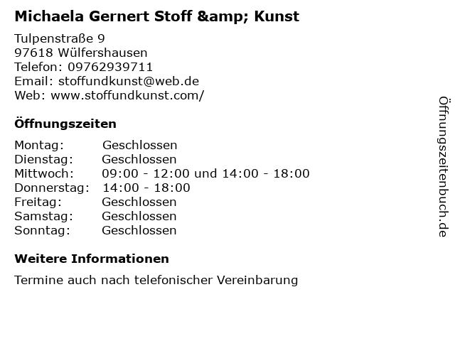 Michaela Gernert Stoff & Kunst in Wülfershausen: Adresse und Öffnungszeiten