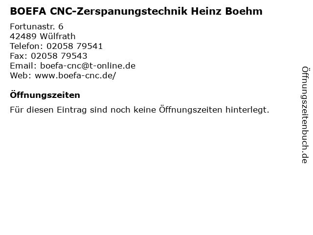 BOEFA CNC-Zerspanungstechnik Heinz Boehm in Wülfrath: Adresse und Öffnungszeiten