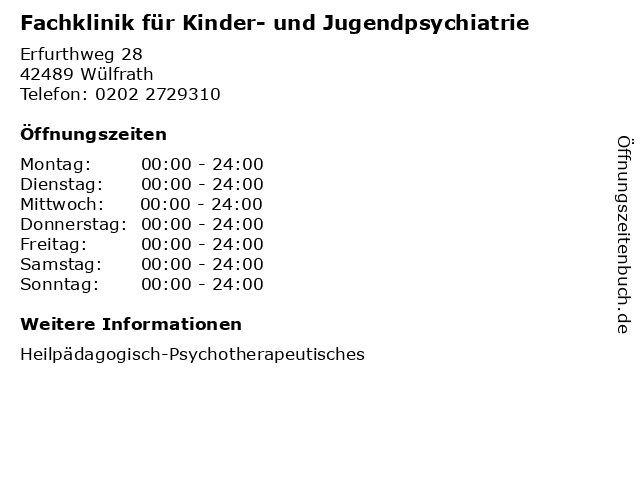 Fachklinik für Kinder- und Jugendpsychiatrie in Wülfrath: Adresse und Öffnungszeiten
