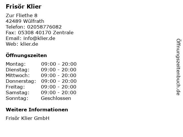 Frisör Klier GmbH in Wülfrath: Adresse und Öffnungszeiten