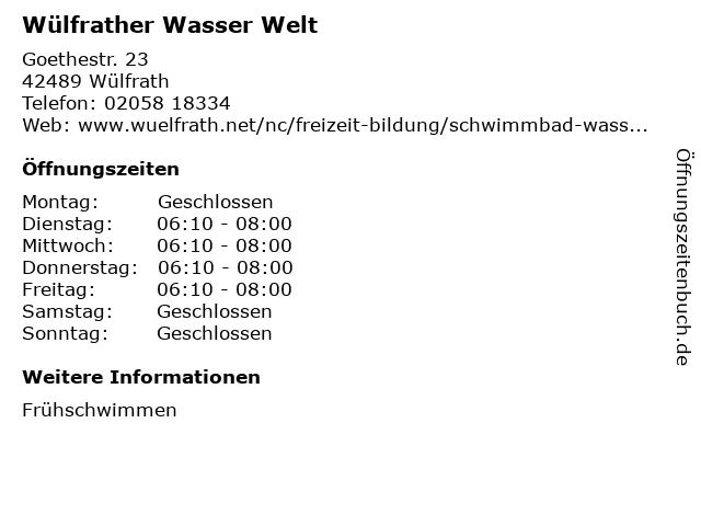 Wülfrather Wasser Welt in Wülfrath: Adresse und Öffnungszeiten