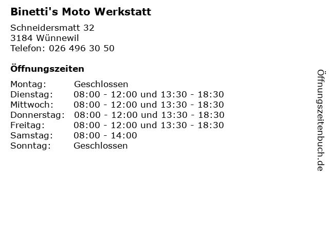 Binetti's Moto Werkstatt in Wünnewil: Adresse und Öffnungszeiten