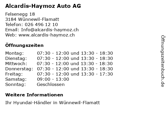 Alcardis-Haymoz Auto AG in Wünnewil-Flamatt: Adresse und Öffnungszeiten